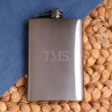 Example of Personalized 8 Ounce Rich Gunmetal Flask with monogram.