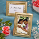 2 Gold Beaded Metal Placecard and Photo Frame