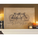 "Tandem Bicycle ""They Lived Happily"" Jute Wall Art"