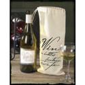 Canvas 'Wine Print' Drawstring Wine Sack