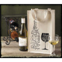 2 Bottle Jute 'Wine Bottle and Glass' Printed Wine Tote