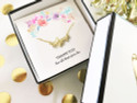 18K Gold Plated 'Mom' Necklace in Heart Gift Box with Floral Insert  'THANK YOU for all that you do'