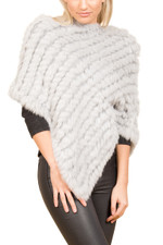 Light Grey Coney Fur Poncho RF1018A-03S
