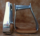 Straight Time Stirrups Barrel Stirrup Polished Aluminum with Leather Tread