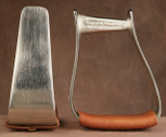 Straight Time Stirrups Roper/Trail Stirrup Satin Nickel Plated with Leather Tread