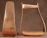 Straight Time Stirrups Roper/Trail Satin Copper Stirrup with Leather Tread