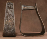 Straight Time Stirrups Roper/Trail In Custom Hand Engraved Antiqued Copper with Leather Tread