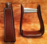 Straight Time Stirrups Barrel Leather Sewn Stirrup Dark Oil