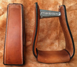 Straight Time Stirrups Cow Horse Leather Sewn Stirrup Dark Oil