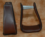 Straight Time Stirrups Roper/Trail Leather Sewn Stirrup Dark Oil