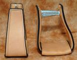 Straight Time Stirrups Roper/Trail Leather Sewn Stirrup Light Oil