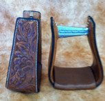 Straight Time Stirrups Roper/Trail Leather Sewn Hand Tooled Stirrup Dark Oil