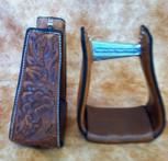Straight Time Stirrups Roper/Trail Leather Sewn Hand Tooled Stirrup Dark Oil
