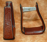 Straight Time Stirrups Barrel Leather Sewn Hand Tooled Stirrup Dark Oil