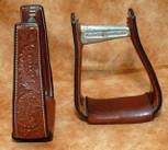Straight Time Stirrups Barrel Leather Sewn Hand Tooled Stirrup Dark Oil