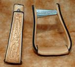 Straight Time Stirrups Barrel Leather Sewn Hand Tooled Stirrup Light Oil
