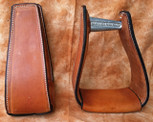 Straight Time Stirrups Packer/Over-Size Sewn Leather Stirrup Dark Oil