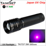 TANK007 TK737 3*AAA(Ni,Alkaline) or 1*18650(Li-ion) 3W 395nm UV flashlight
