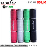 TANK007 TK701 pocket size LED flashlight SSC U3 mini led torch torches U3 95LM mini flash light