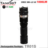 Rechargeable led flashlight with magnetic switch TANK007 TR01S 1000 lumens high power torch