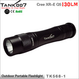 TANK007 TK568 USA Cree XR-E Q5 led flashlight 130lumens torch torches with lanyard O-ring Silicon cap