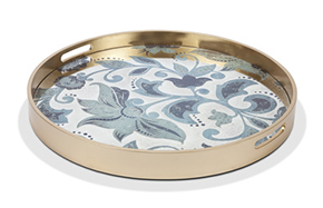 Etched Floral Mirror Trays