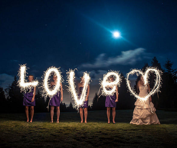 sparkler photography with words