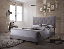 Luxurious Contemporary Style Upholstered Queen Bed, Grey
