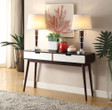 Beautiful Sofa Table With 2 Drawers, Espresso & White