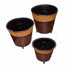 Stylish  3 Piece Metal Planter, Brown