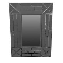 Exquisite Rectangular Wooden Framed Mirror, Gray