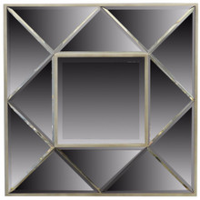 Sophisticated Square Wooden Framed Mirror, Gray