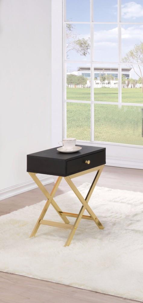 Stylish Side Table, Black & Gold