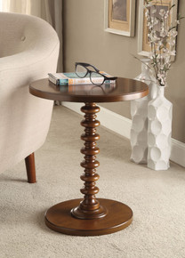 Astonishing Side Table With Round Top, Walnut