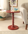 Astonishing Side Table With Round Top, Red