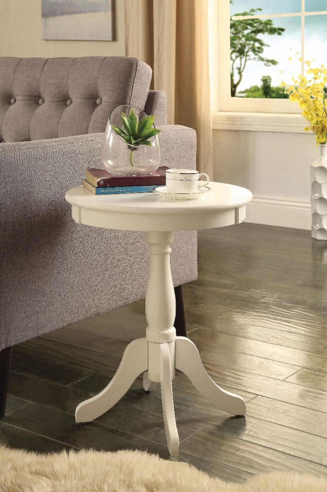 Astonishing Side Table With Round Top, White