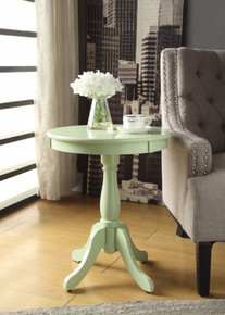 Astonishing Side Table With Round Top, Light Green