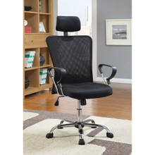 Designer Executive Mesh Chair with Adjustable Headrest, Black