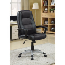Leather & Mesh, Modern High-Back Executive Desk Chair, Black