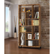 Sleek And Sophisticated Bookcase With Multiple Shelves, Brown