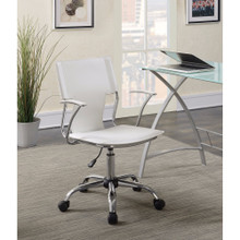 Contemporary styled mid-back office chair, White/Chrome