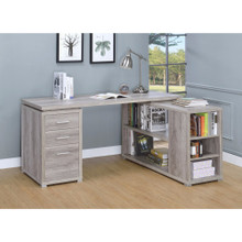 Contemporary Style L-Shaped Office Desk, Gray