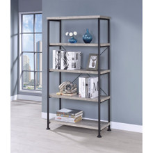 Sophisticated Wood and Metal Open Bookcase, Gray