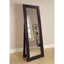 Sophisticated Floor Mirror With Wooden Frame, Brown