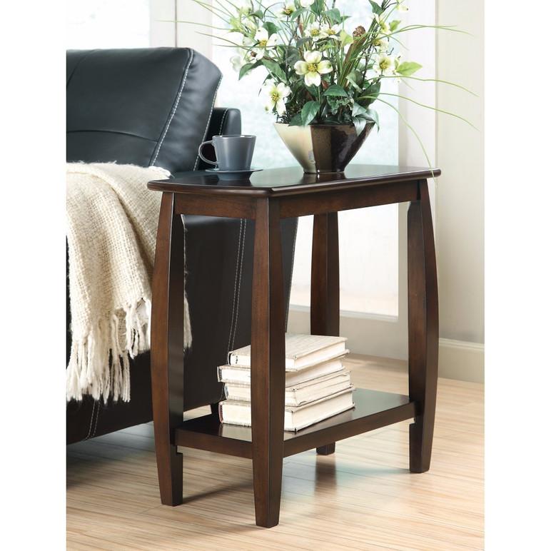 Elegant Wooden Chair Side Table, Brown
