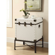 Trendy Trunk Style Accent Side Table, White