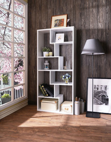 Wooden Rectangular Cube  Bookcase, White