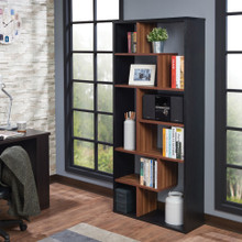Wooden Rectangular Cube Bookcase, Natural Brown & Black