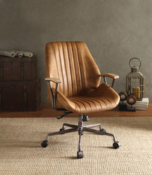 Metal & Leather Executive Office Chair, Coffee Brown