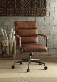Metal & Leather Executive Office Chair, Retro Brown